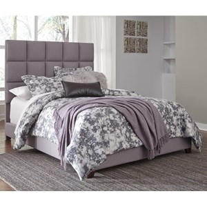 Queen Upholstered Bed in Gray Fabric