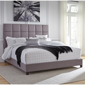 King Upholstered Bed in Gray Fabric