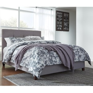 Queen Upholstered Bed with Channel Tufting & Gray Fabric