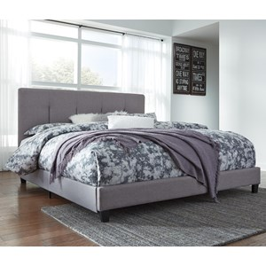 King Upholstered Bed with Channel Tufting & Gray Fabric