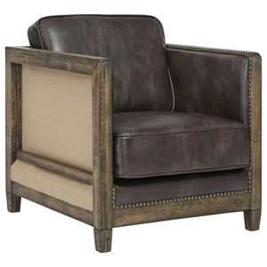 Deconstructed Style Accent Chair with Brown Faux Leather
