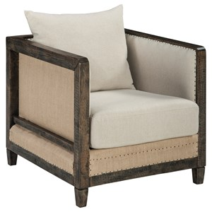 Deconstructed Style Linen Fabric Accent Chair with Wood Frame