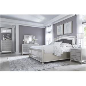 King Upholstered Panel Bed, Dresser, Mirror, 2 Nightstands and Chest Package