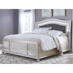 Queen Panel Bed with Arched Upholstered Headboard and Silver Finish Frame