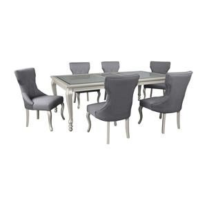 7 PC RECT EXT Table, 4 UPH Side Chairs and 2 Tufted Side Chairs Set