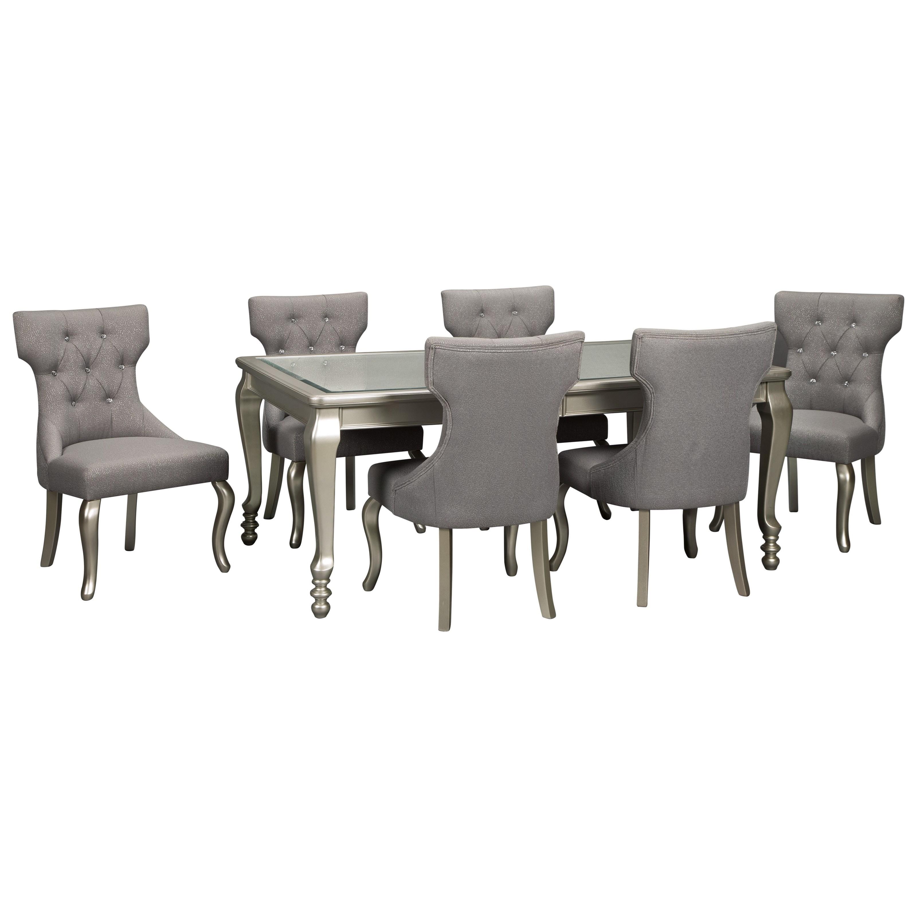 Coralayne 7-Piece Rectangular Dining Room Table Set by Ashley (Signature Design) at Johnny Janosik