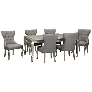 7-Piece Rectangular Dining Room Extension Table Set