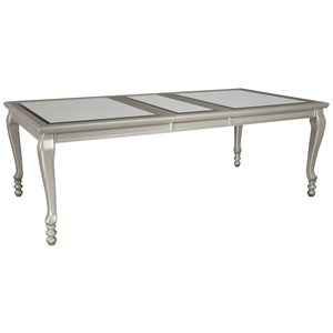 Rectangular Dining Room Extension Table with Glass Inserts