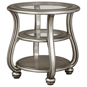 Round End Table in Silver Finish with Glass Top