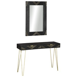 Black/Gold Finish Console Table with Hairpin Legs & Mirror