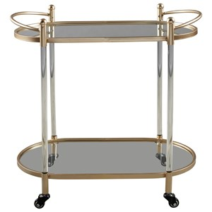 Gold Finish Metal/Clear Acrylic Bar Cart with Glass Shelves