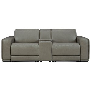 Contemporary Leather Match Power Reclining Loveseat w/ Console