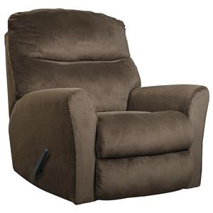 Casual Contemporary Rocker Recliner with Flared Arms
