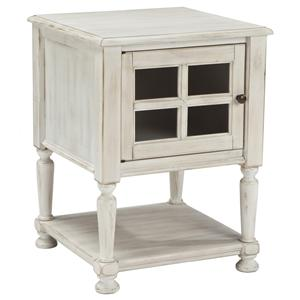Chair Side End Table with Window Pane Style Framed Glass Door