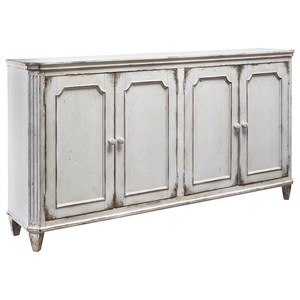 French Provincial Style Door Accent Cabinet in Antique White Finish