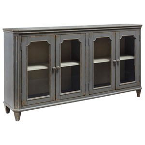 French Provincial Style Glass Door Accent Cabinet in Antique Gray Finish