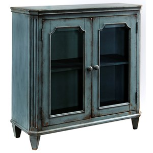 French Provincial Style Glass Door Accent Cabinet in Antique Teal Finish