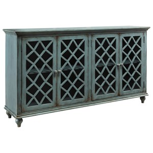 Lattice Glass Door Accent Cabinet in Antique Teal Finish