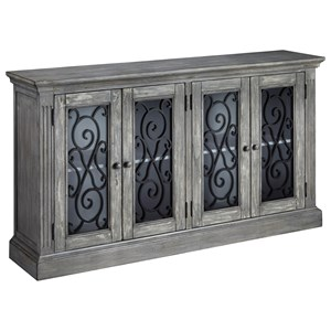 Door Accent Cabinet in Antique Gray Finish & Decorative Grilles on Glass Doors