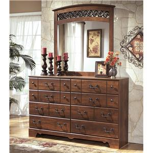 8 Drawer Dresser and Arched Mirror Set