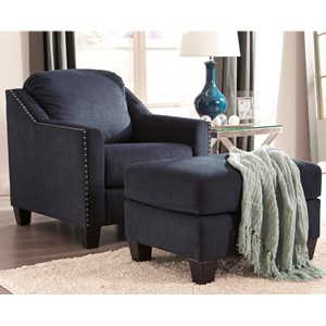 Nailhead-Studded Chair and Ottoman Set