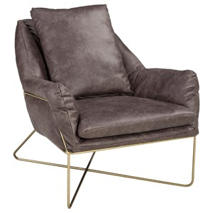 Accent Chair with Gold Finished Metal Frame