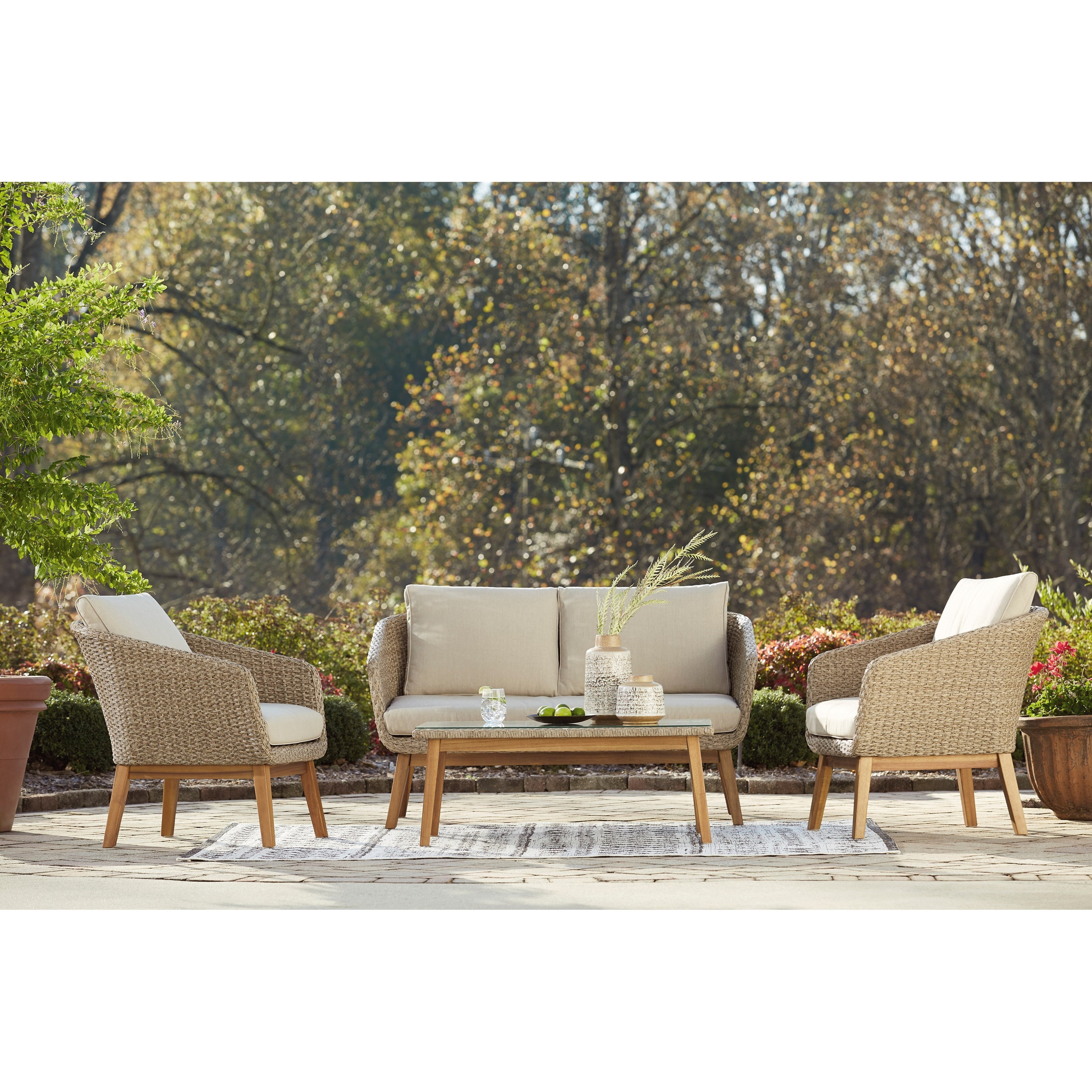 Crystal Cave Loveseat w/ Table & 2 Lounge Chairs by Signature at Walker's Furniture