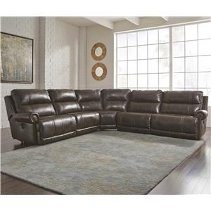 5-Piece Power Reclining Sectional with Armless Recliner
