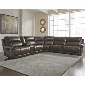6-Piece Power Reclining Sectional with Storage Console & Armless Recliner