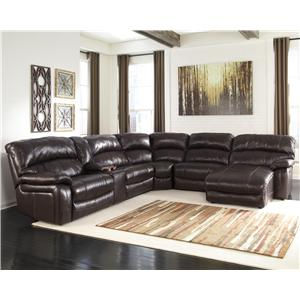 Reclining Sectional w/ Console & Right Press Back Chaise