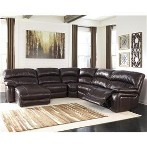 Signature Design by Ashley Damacio - Dark Brown Reclining Sectional with Press Back Chaise
