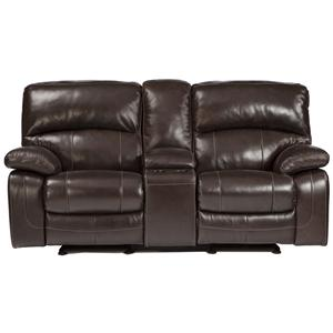 Leather Match Glider Recliner Power Loveseat w/ Console