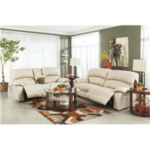 Signature Design by Ashley Damacio - Cream Reclining Living Room Group