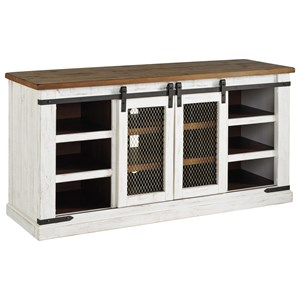 "60"" Rustic Large TV Stand with Sliding Barn Doors"