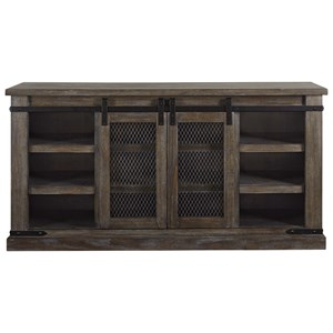 "60"" Rustic TV Stand with Sliding Barn Door"