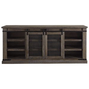 "70"" Rustic TV Stand with Sliding Barn Door"