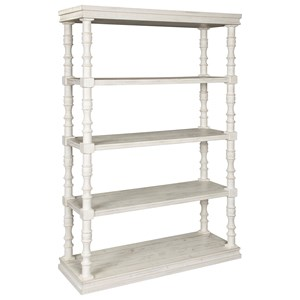 Open Bookcase with Turned Posts