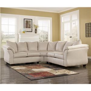 Contemporary Sectional Sofa with Sweeping Pillow Arms