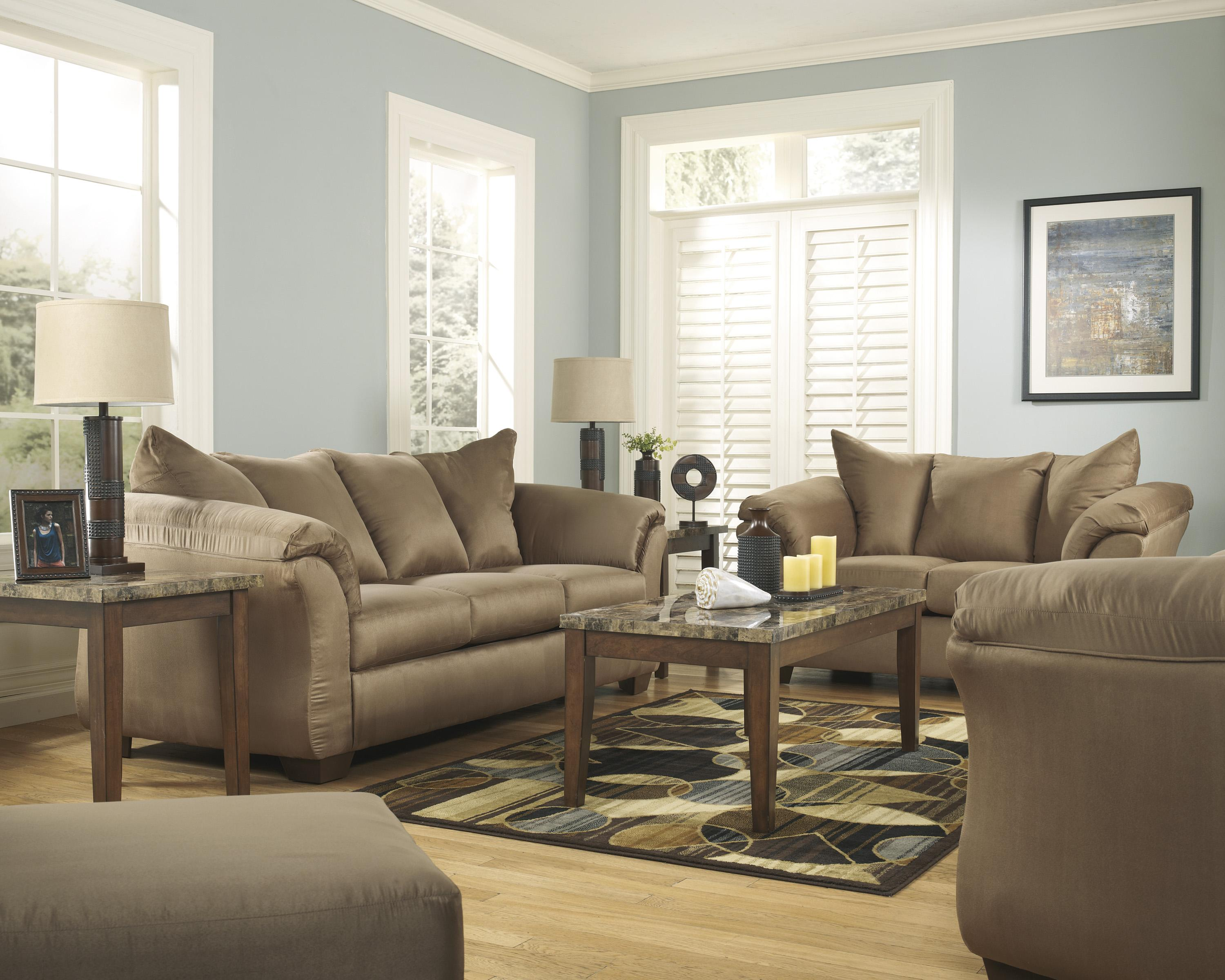 Darcy - Mocha Stationary Living Room Group by Signature Design by Ashley at Sparks HomeStore