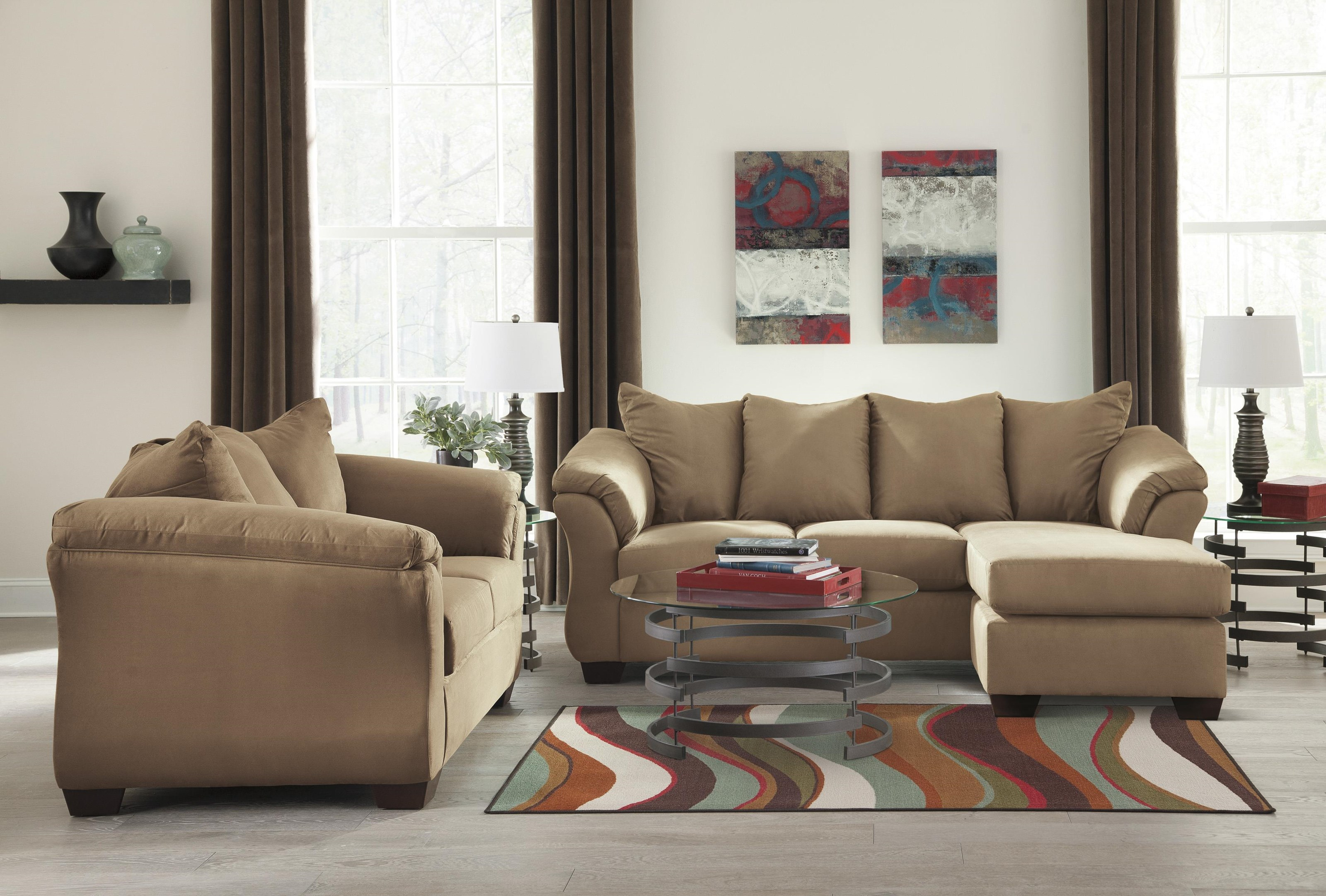 Darcy - Mocha Chaise Sofa, Loveseat and Ottoman Set by Signature Design by Ashley at Sam Levitz Outlet