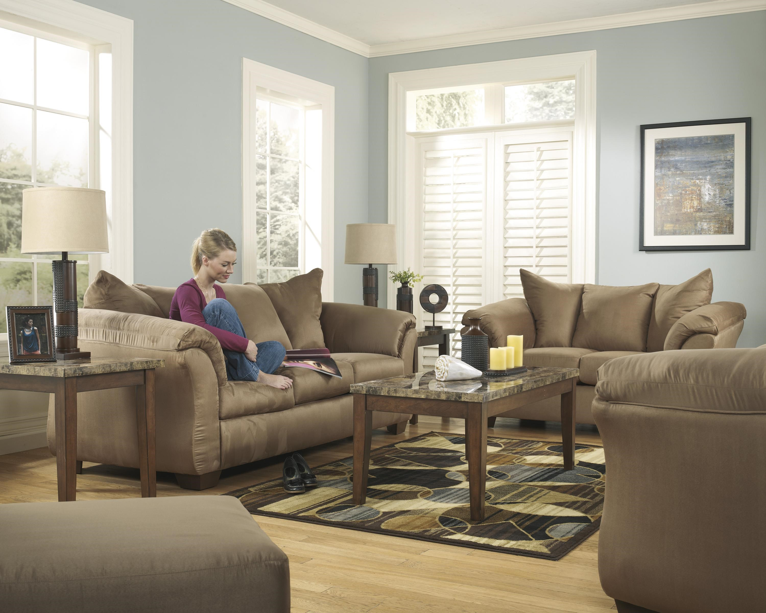 Darcy - Mocha Sofa, Chair and Ottoman Set by Signature Design by Ashley at Sam Levitz Furniture