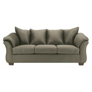 Contemporary Stationary Sofa with Flared Back Pillows