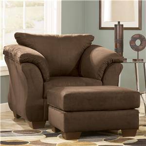 Contemporary Upholstered Chair and Ottoman with Tapered Legs