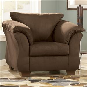 Contemporary Upholstered Chair with Sweeping Pillow Arms