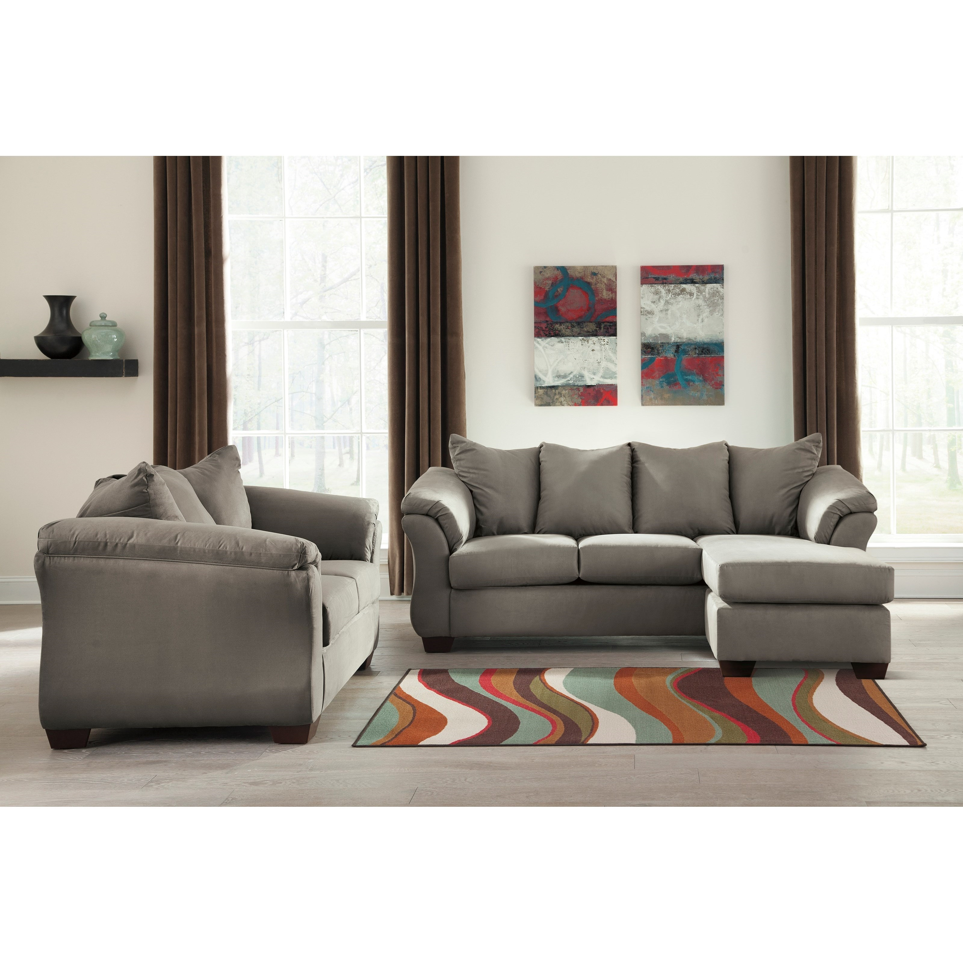 Darcy - Cobblestone Stationary Living Room Group by Signature Design by Ashley at Northeast Factory Direct