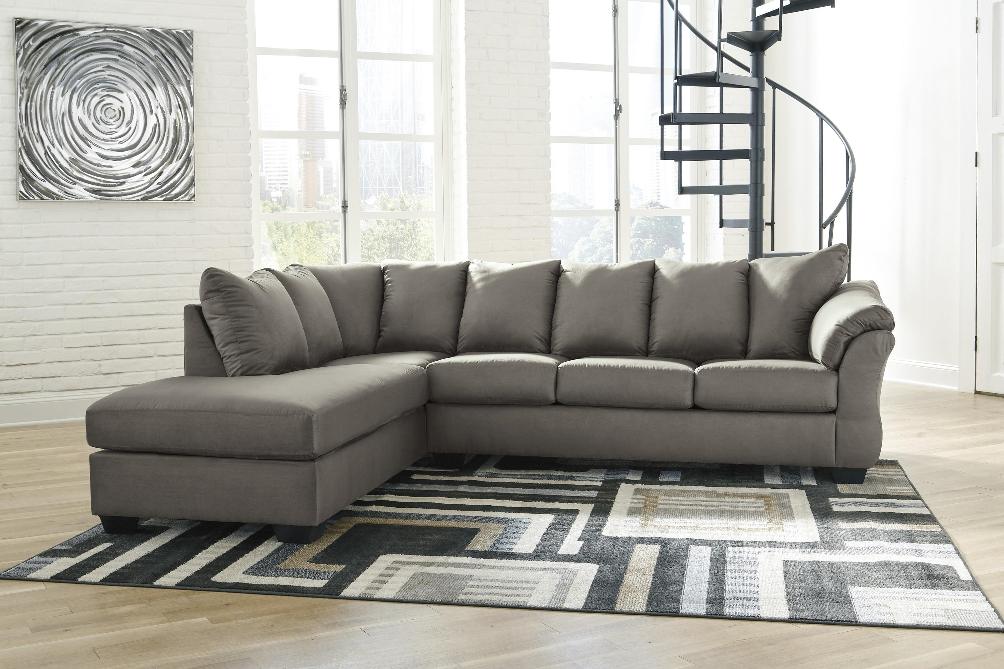 Darcy - Cobblestone 2 PC Sectional and Chair Set by Signature Design by Ashley at Sam Levitz Outlet