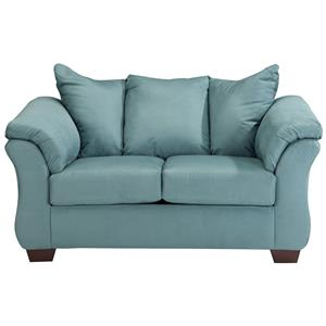 Contemporary Stationary Loveseat with Flared Back Pillows