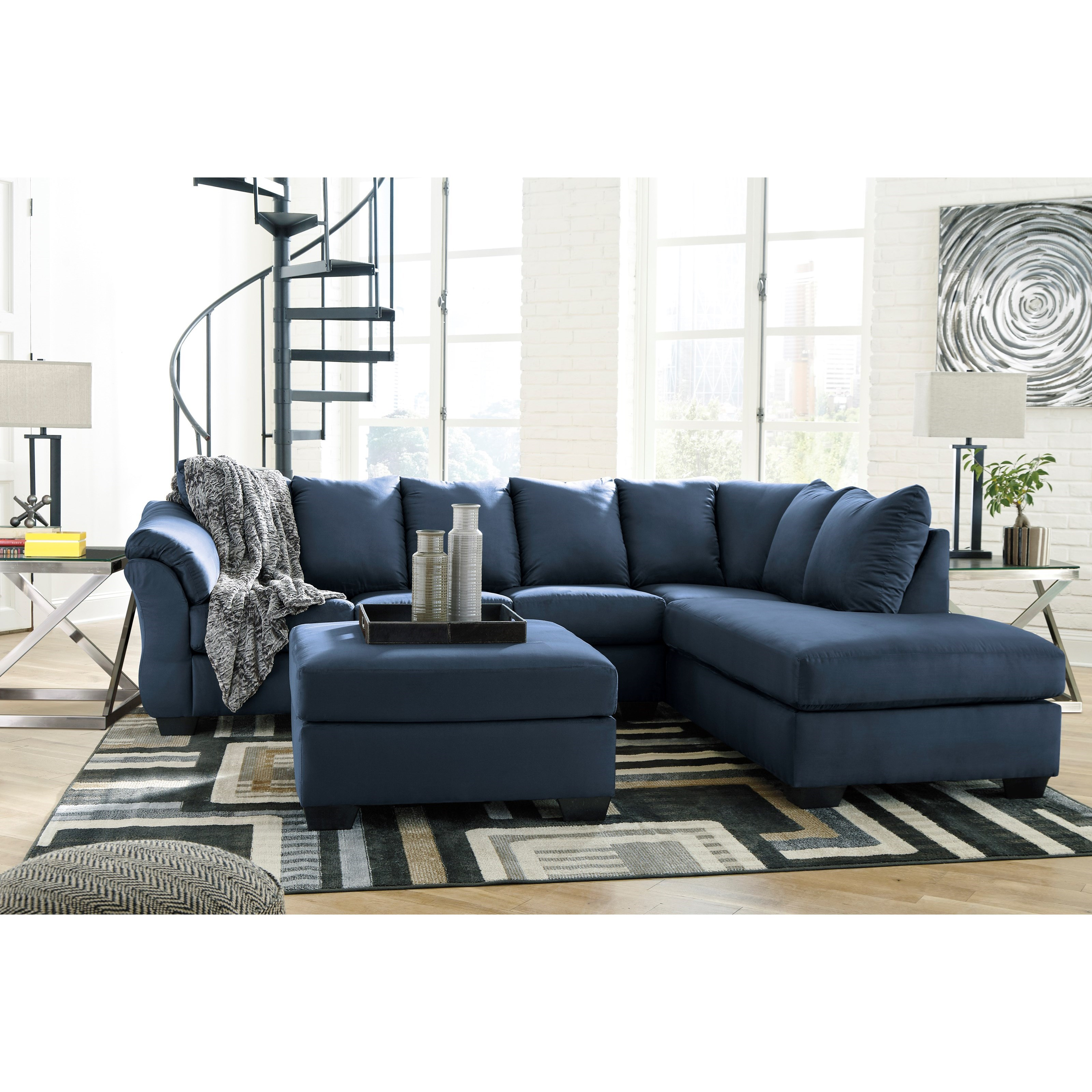 Darcy - Blue Stationary Living Room Group by Signature Design by Ashley at Zak's Home Outlet
