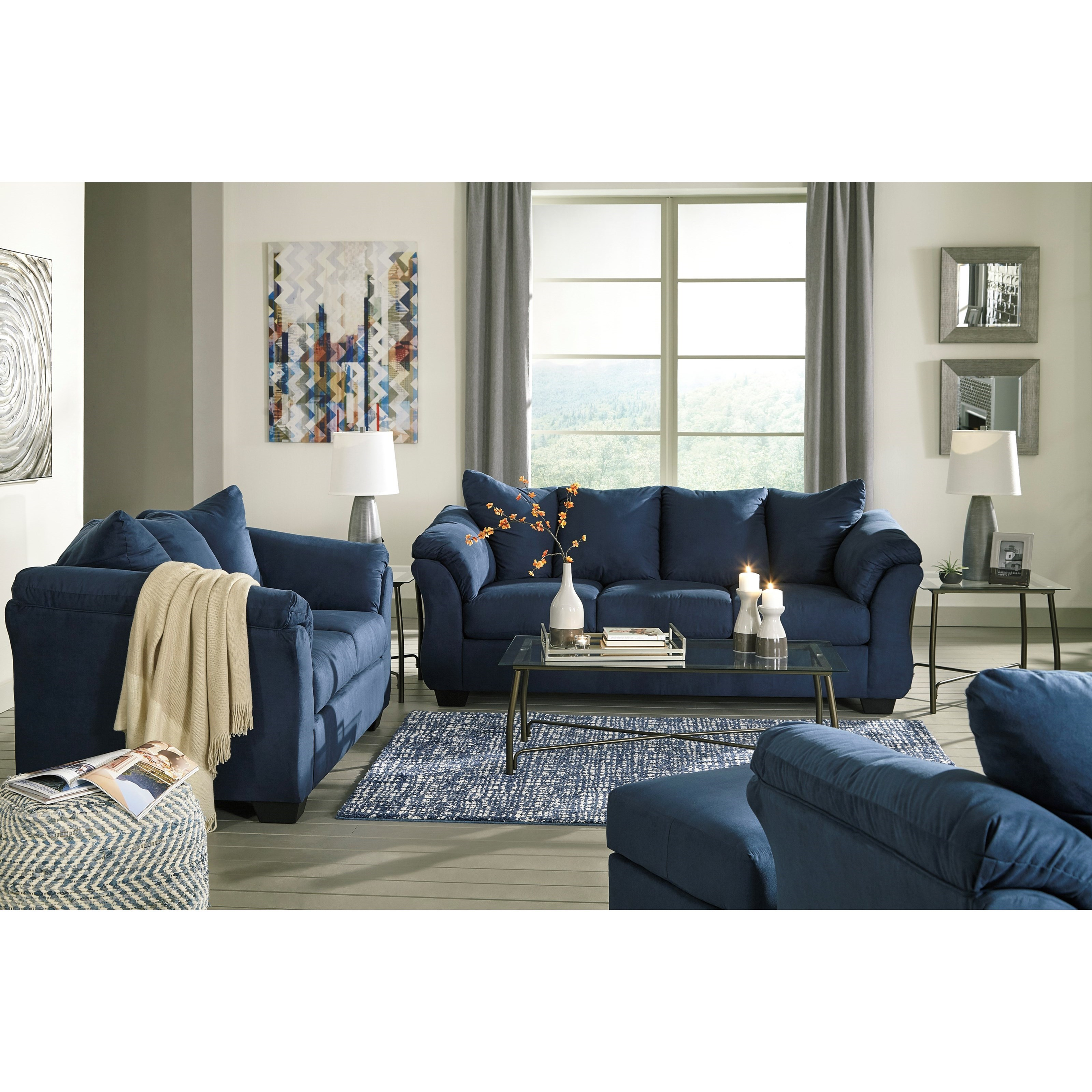 Darcy - Blue Stationary Living Room Group by Signature Design by Ashley at Furniture Barn