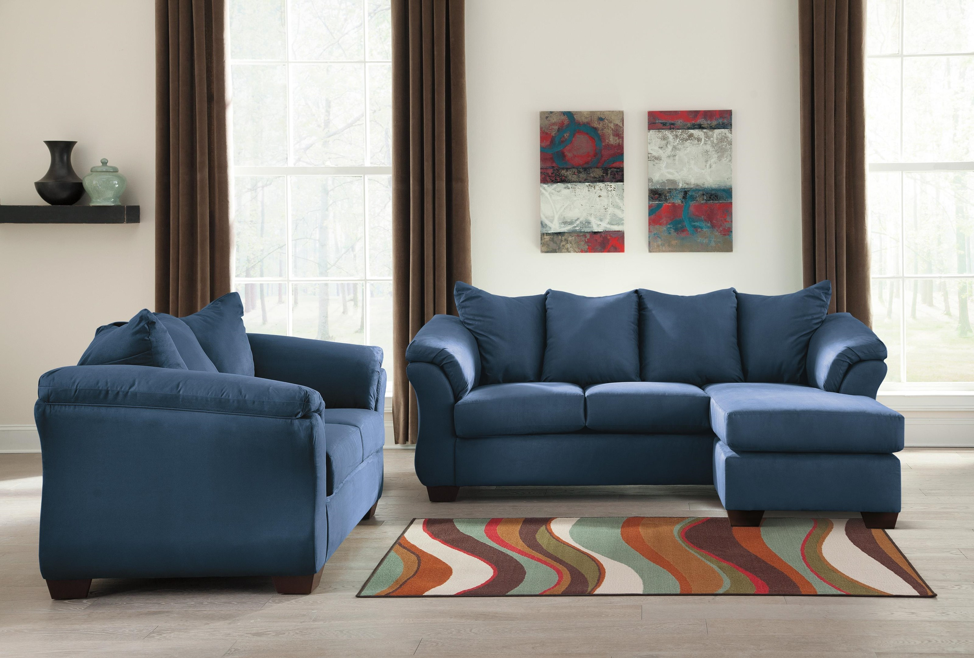 Darcy - Blue Chaise Sofa, Loveseat and Ottoman Set by Signature Design by Ashley at Sam Levitz Furniture